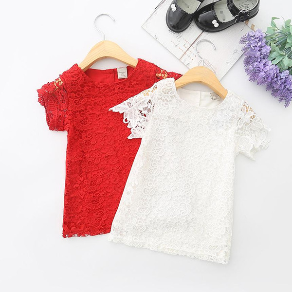 HUG ME2017 Baby Girl Kids Clothing Girls Lace Elbow Dress Children Casual Loose Dresses Kids Holiday Party Dress Red White Lace Hollow Dress