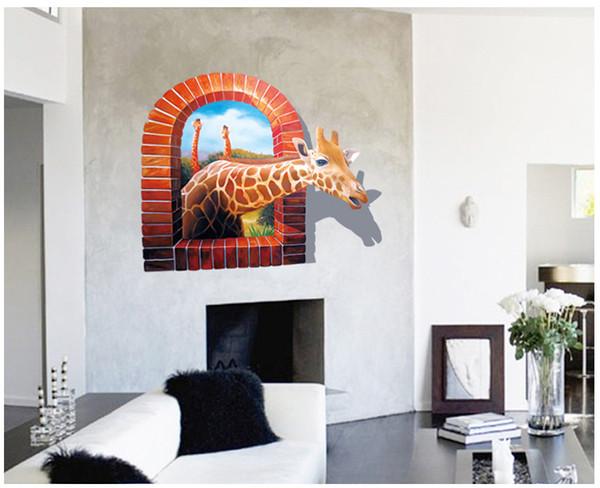 Creative Giraffe 3D Wall Sticker PVC Self-adhesive Animal Wall Mural for Living Room Kids Room Home Decor