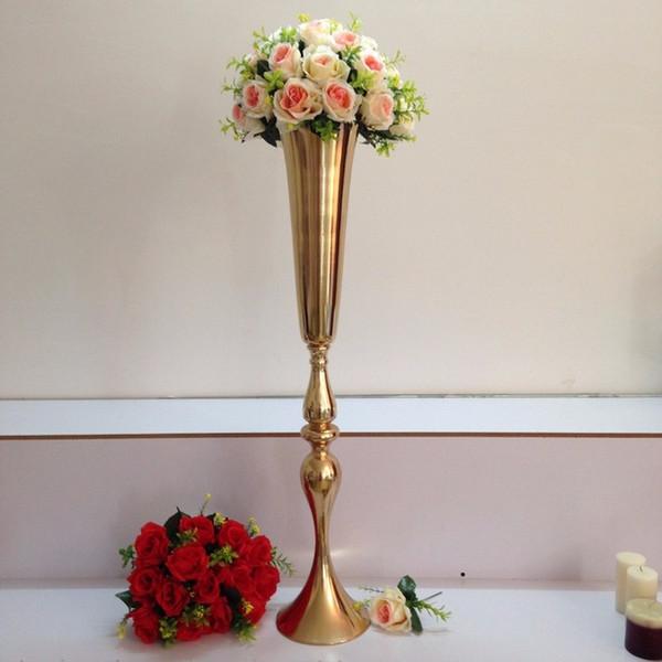 "best selling Flower Vase Wedding Props Master Table Vase 88cm   34.6"" Wedding Road Lead Flower Shelf Gold Table Stand for Wedding Centerpiece Decoration"