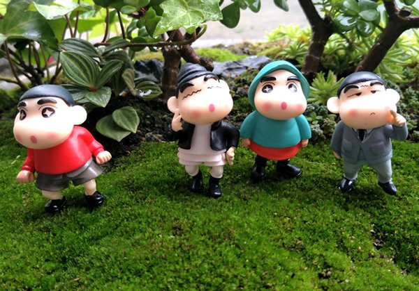 4pcs big eyes Crayon Shinchan figurines for home decoration fairy garden miniatures mini gnomes moss terrariums decor resin crafts