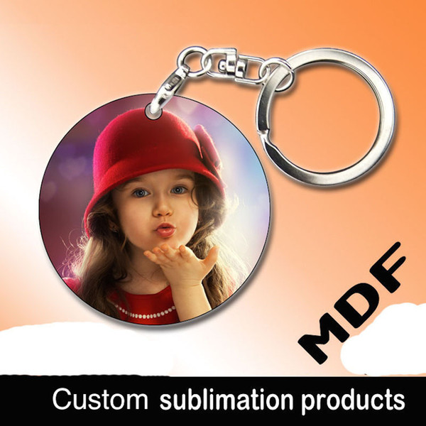 Sublimation blank MDF wooden keychain Thermal transfer print design picture personality advertising custom gift pendant for advertising