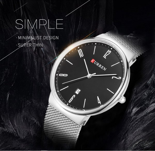 2018 NEW CURREN Fashion Wach Wrist male Watches Men date Quartz Watch Ultra thin Dial Clock Man Relogio Masculino 8257