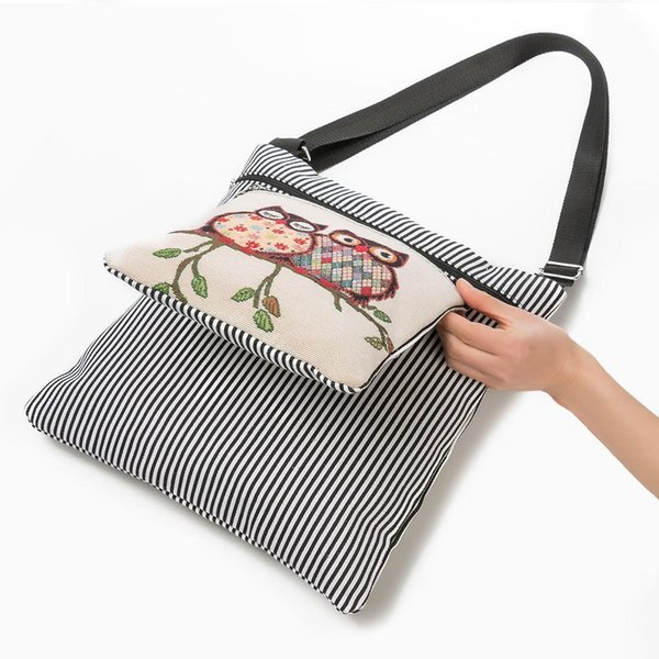 New Women Bag Embroidered Owl Tote Bags Women Shoulder Bag Handbags Postman Package hand bag attractions stripes diagonal package