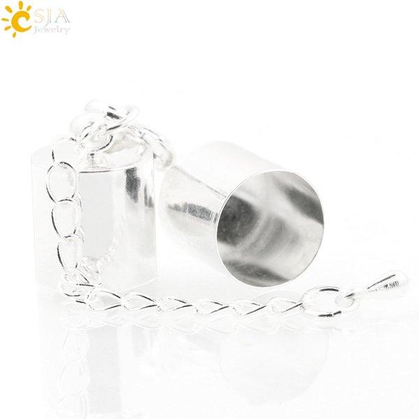 CSJA 10 sets Collar de 4mm Pulsera de Cuerda de Cuerda de La Joyería DIY Que Hace Hallazgos Accesorios Conjunto Completo Casquillo de Campana Extender la Cadena de Cola E172