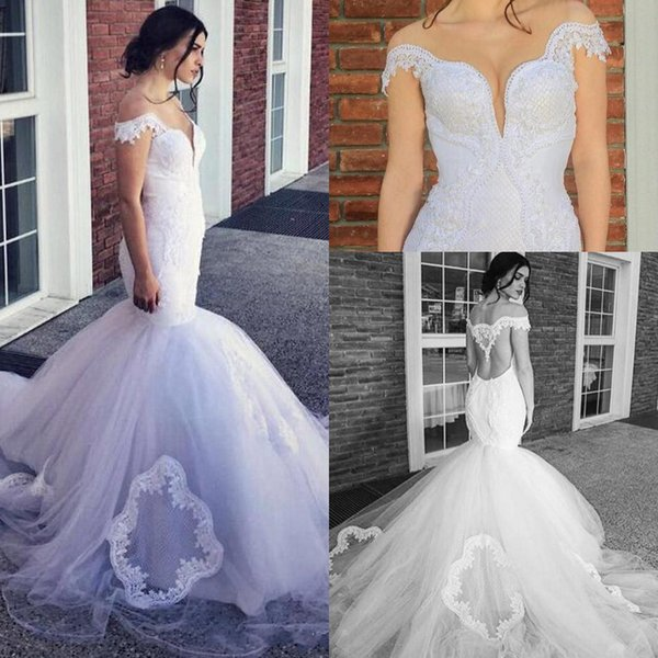 2017 Plus Size Arabic Ruffles Mermaid Wedding Dresses Sheer Neck Off Shoulder Keyhole Lace Appliques Open Back Tulle Formal Bridal Gowns