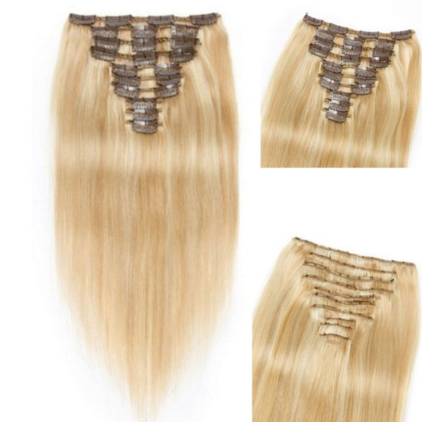 Highlight Clip Indian Human Hair Extensions 27/613 10pcs Per Set Cheap Straight Remy Clip In Hair Extensions 120g