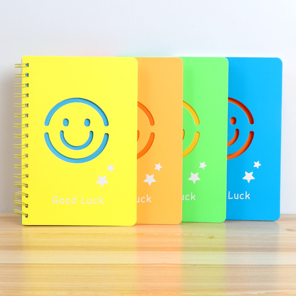 Notebook A5 Coil Office Supplies Cute Smile Face Student Notepad Diary Lovely Emoji Solid Color Nice Paper Book 3 8hx F R