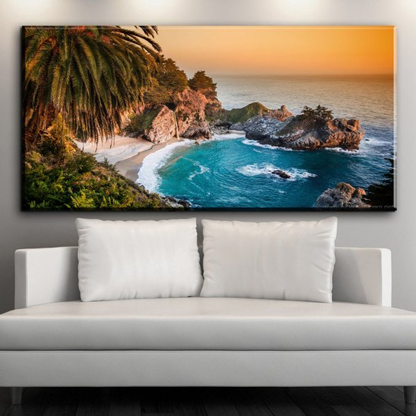 ZZ1539 beautiful canvas wall art prints coconut tree lake landscape canvas oil art painting for livingroom bedroom decoration