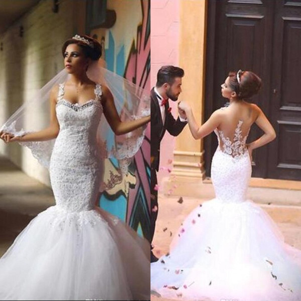 Stunning Fit and Flare Wedding Dresses Beaded Lace Puffy Tulle Mermaid Wedding Dress Crystals Sweetheart Neckline Illusion Back Bridal Gowns
