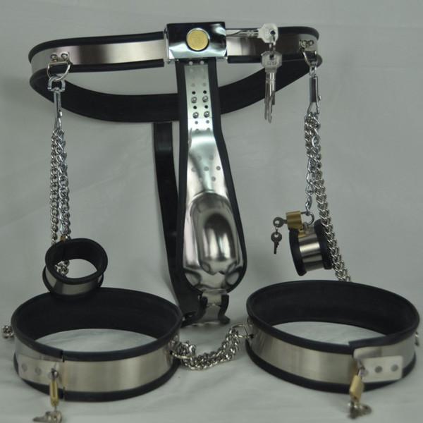 New arc waist belts stainless steel male chastity belt 3 pcs/set bondage restraints kit handcuffs thigh ring cuffs bdsm sex toys