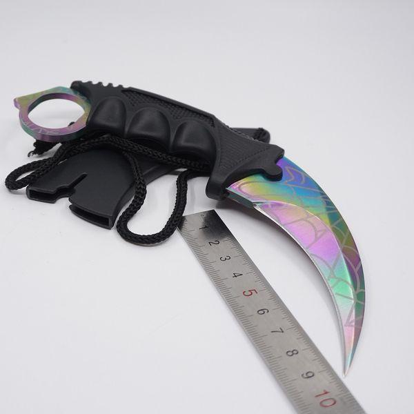 Counter Strike CS GO Karambit Coltelli da sopravvivenza Csgo Fixed Blade Colore Titanium Skin Outdoor Training Rescue Knife Campeggio Strumenti EDC