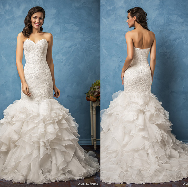 Ruffles Mermaid Wedding Dresses 2017 Amelia Sposa Bridal Gown ...