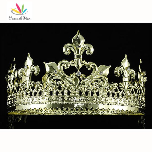 Tavuskuşu Yıldız Imperial Imperial Homecoming Pageant Balo Tam Daire Yuvarlak Altın Kaplama Kral erkek Taç CT1715
