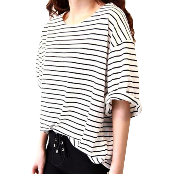 Wholesale- New Summer Women T shirt Loose Short Sleeve Tops Female Striped T-shirt Woman White Black Tops Tee Fashionable Women Clothing
