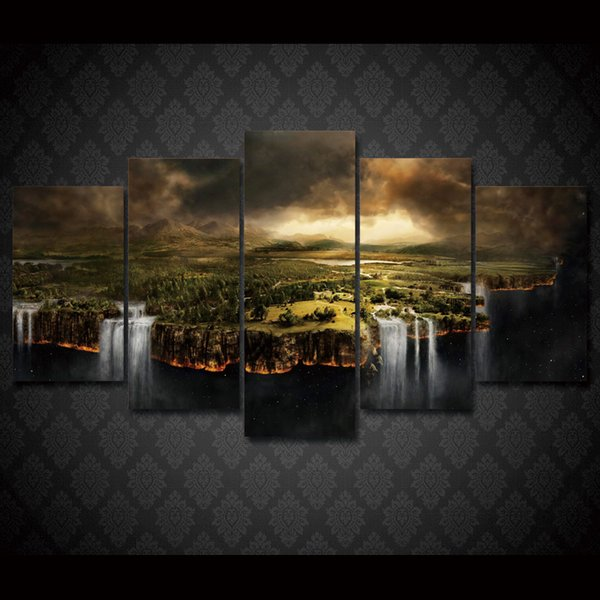 5 Pcs/Set Framed HD Printed Edge Of The Earth Wall Art Canvas Print Poster Canvas Pictures Modern Painting For Living Room