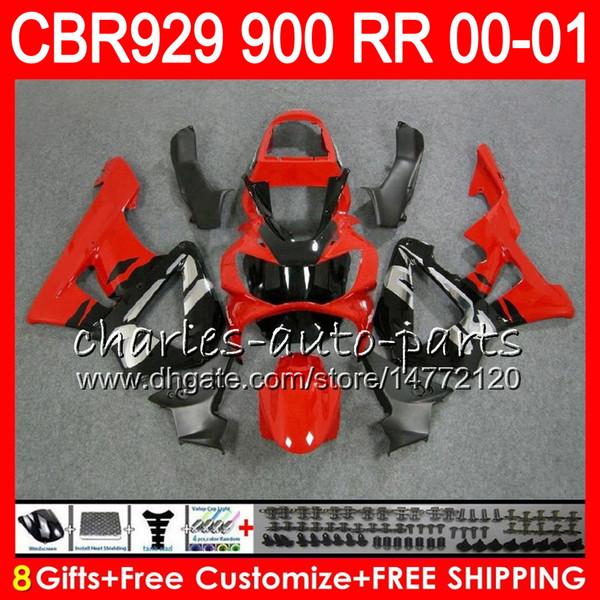 HONDA CBR 929RR CBR900RR için vücut CBR 929 RR CBR929RR 2000 2001 üst Kırmızı gümüş 67NO27 CBR900 RR CBR 900RR CBR929 RR 00 01 Fairing kiti 8Hediyeler