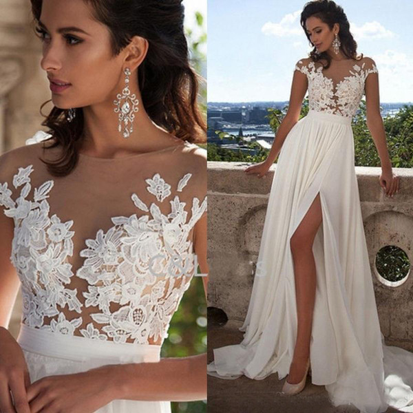 New Arrivals Sexy Sheer Neck Thigh-High Slits Aline Sleeveless Bridal Gowns Cheap Fashion Elegant Lace Long Beach Wedding Dresses