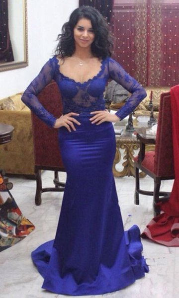 Elegant Mother Of The Bride Dresses Plus Size Royal Blue Evening Dress Formal Gown Illusion Lace Bodice Mother off Bride Dresses
