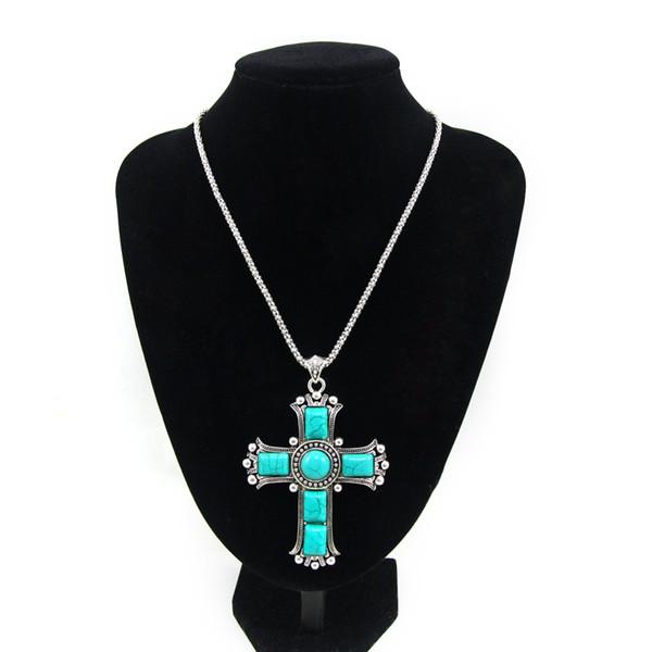 Colares Pingente de Cruz do vintage de Prata Cadeia de Pedra Azul Colar de Mulheres Jóias Grande Cruz Colar de Jesus Pedaço Nkej84