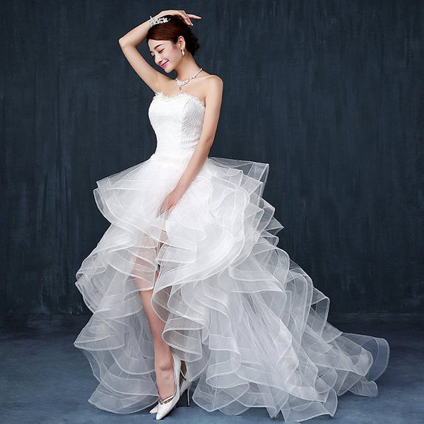 The bride's wedding dress high low slim small tail wedding 2017 spring and summer cake style elegant ball gown dress custome