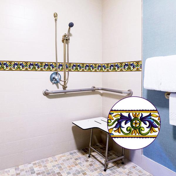10x1000 cm Mavi çiçek desen duvar çıkartmaları Kabine Soba Kiremit Için mutfak banyo duvar çıkartmaları yapıştırıcı ev dekor