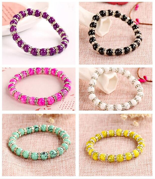 Brand new Glass Diamond Bracelet Imitation Natural Crystal Bracelet Ornament Hand FB032 mix order 20 pieces a lot Beaded, Strands