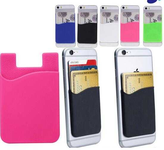 Adhesive Sticker Back Cover Card Holder Case Pouch For Cell Phone Wholesale free ship