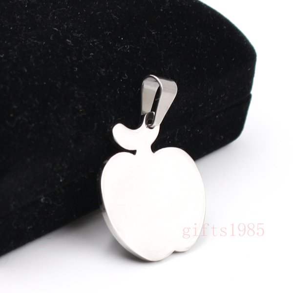 High polished Apple charm pendant stainless steel manufacture Unisex fashion small pendant necklace