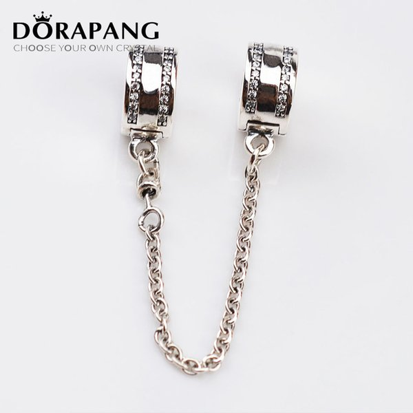 DORAPANG 925 Sterling Silver Bead Charm Pave Inspiration Diamond Safety Chain & Beads Fit European Women Bracelet Bangle DIY Jewelry 5013
