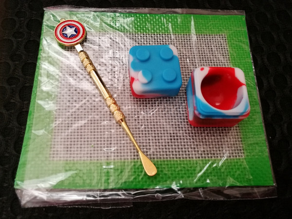 Silicone Wax Kit Set with square sheets pads mat 7ml oil container Captain America dabber tool for dry herb DHL