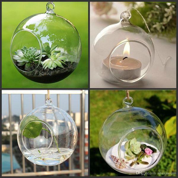 top popular 100PCS box Tea Light Holder 80MM Glass Air Plant Terrariums,Hanging Glass Orb Candle Holder For Wedding Candlestick Garden Decor Home Decor 2021