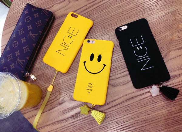 Simple Style Smile Face creative Lanyard lovely Frosted PC hard Case Cover For iphone 6 6s 7 7 Plus Cell Phone Cases 50pcs