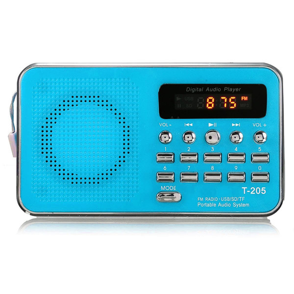 Wholesale-New T205 LCD Display Digital FM Radio Mini Music Player MP3 WMA MMC Support TF Card USB Port Aux Audio Player 4 Colors