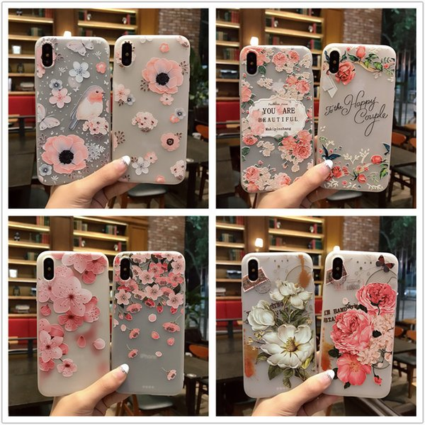 For iPhone X 5s 6 6s 7 8 plus Case Silicone Cute Cartoon Relief Flowers Matte TPU Soft Back Cover Relief Case For iPhonex