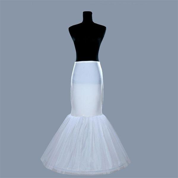 Novas Sereias Anáguas para Casamentos Eventos Branco Formal Vestido De Noiva Crinolina Acessórios De Noiva 1 Hoop Osso Trompete Elástico Underskirt