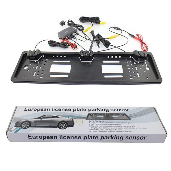 top popular European License Plate Car Parking Sensor PZ600L Four Sensors Human Voice Bibi Sound Alarm 64 Colors To Choose 2021
