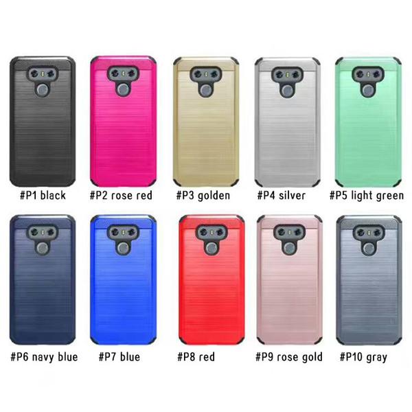 Cas Armure Pour Motorola Moto E4 G5 Plus G4 G4 Plus Coolpad Catalyst 3622A LG Stylo 3 ls777 G6 hybride brossé double couche Moq 10Pcs / modèle