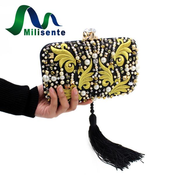 Großhandels-Milisente Geldbörsen und Handtaschen wulstige Stickerei-Troddel-Beutel-Frauen-Partei-Beutel-kleine Abend-Kupplungen Dame Wedding Clutch Chain