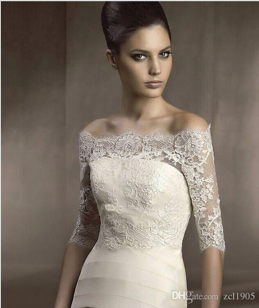 Free Shipping Real Pictures 3/4 Sleeve Lace Off -Shoulder Wedding Jacket Wedding Wraps