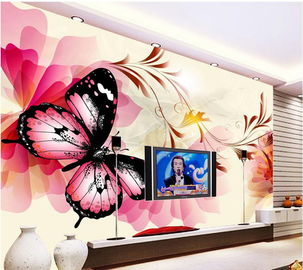 Modern dream butterfly pattern background wall mural 3d wallpaper 3d wall papers for tv backdrop