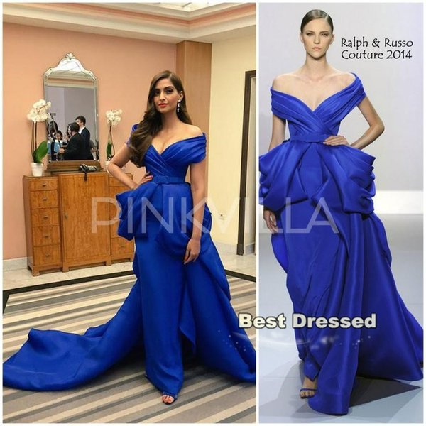 Sonam Kapoor The Sea of Trees Movie Premiere Cannes Film Festival Red Carpet Fashion Ralph Russo Royal Blue Evening Dresses