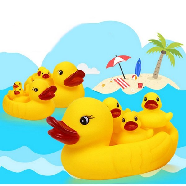retail Baby Bath Water Duck Toy Mini Sounds animal Yellow Rubber Ducks Kids Bath Small Octopus Toy Children Swiming Beach Gifts