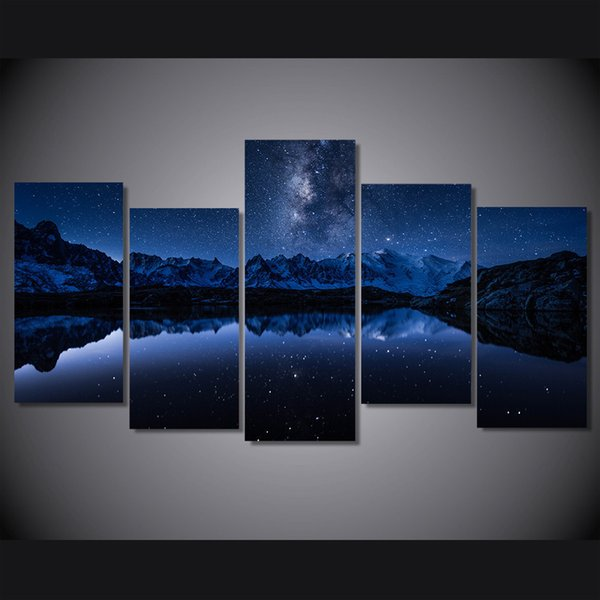 5 Pcs/Set Framed HD Printed Lake Mountain At Night Picture Wall Art Canvas Print Room Decor Poster Canvas Painting Wall