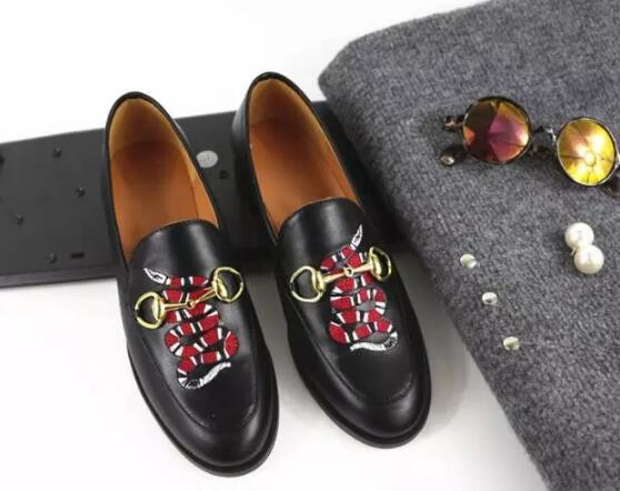Flat head leather flat sole shoes casual set foot slip on lazy shoes snake embroidery metal buckle four seasons shoes women breatherable