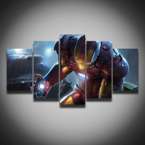 5 pieces posters Marvel Iron Man picture painting on canvas wall decor for children baby room art HD Print Painting(Unframed)