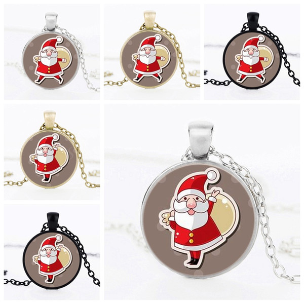 Christmas Gifts For Kids Santa Claus necklace Time gem Glass Pendant Necklace Jewelry Handmade Art Photo Accessories For Child