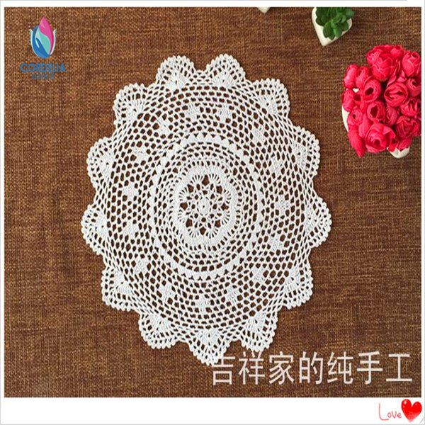Wholesale- free shipping 40cm Round 6 pics/lot cotton crochet lace doilies for home decor coasters placemat with flowers cup pad pot hodler