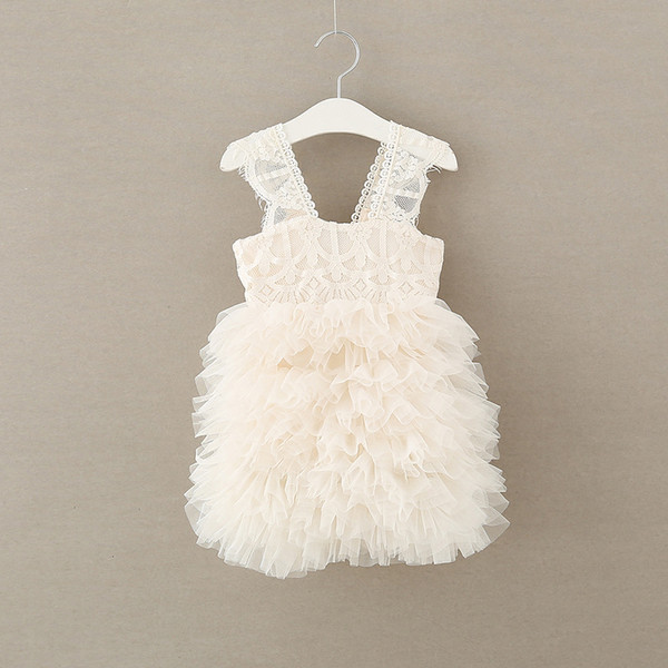 Girls Ball Gown lace fashion little girls knee length princess party dress kids tiered tulle TUTU dress children bridesmaid dresses T3494