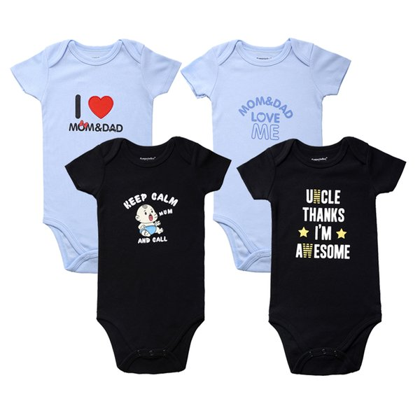 218996d24ddb4 Newly Funny Baby Clothes 4 Pcs/lot Baby Boys Girls Bodysuits Short Sleeve  Uncle Aunt