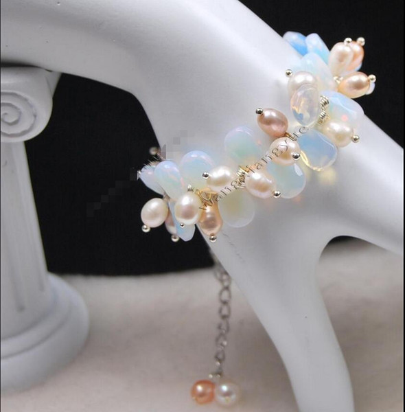 Charming!Rice Shape Pearl/Faceted Moonstone Teardrop Beads Bracelet free shipping